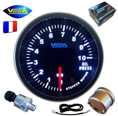 ► Manomètre Racing VEGA® 52mm Pression Huile PRO Moteur pas-à-pas 0-10 bars ◄