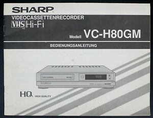 Details about Sharp VC-H80GM Original VHS/VCR Video Recorder Manual on