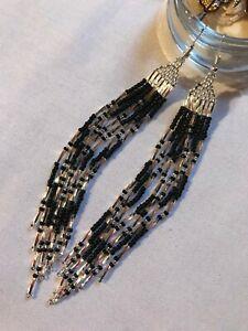 Native American Style /'Cascading Rainbow Feathers/' Beaded Earrings