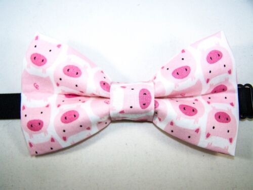 Handmade USA PIG PIGS FREE SHIPPING NEW FABRIC BOW TIE W//Adjustable Strap