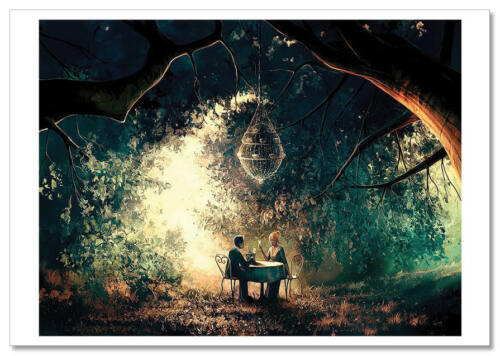 Couple Dinner in the forest Fantasy by Cyril Rolando Russian Modern Postcard