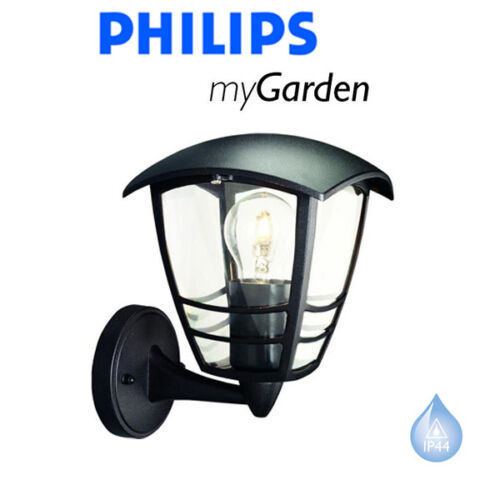PHILIPS MY GARDEN CREEK WALL UP BLACK OUTSIDE LANTERN LIGHT QUALITY DIE CAST NEW