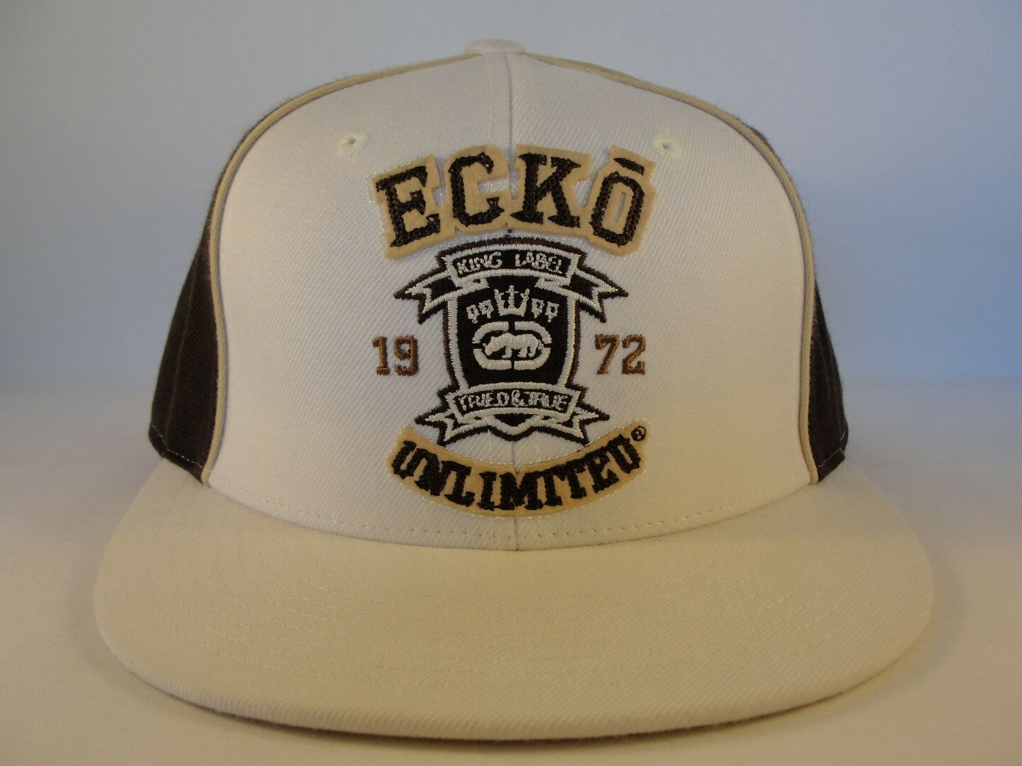 Ecko Size Unltd Fitted Hat Cap Size Ecko 7 3/8 Ivory Brown 0627cd