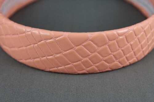Pink faux patent leather headband textured 1 1//8 inch wide hair band accessory