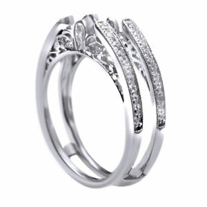 Vintage-Cathedral-Ring-Guard-Solitaire-Diamond-Enhancer-14k-White-Gold-Over-925