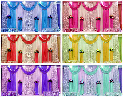 10ft 20ft Pleated Wedding Backdrop Curtain Background Decor Sparkly Sequin Swag