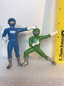 """2 Super Robotic Rangers 3"""" figures - MMPR Power Rangers knock off KO bootlegs"""