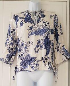 Womens-Zara-White-Blue-Paisley-Tie-Neck-Linen-Boho-Folk-Top-Blouse-Small
