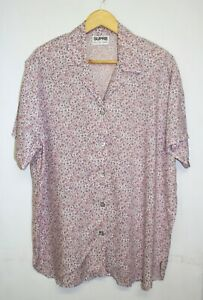 Supre-Vintage-Blouse-One-Size-Pink-Floral-Print-Button-Down-Padded-Shoulder