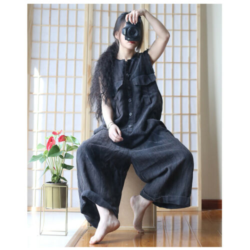 Vintage Women Cotton Linen Loose Flax Jumpsuit Casual Overalls Rompers Occident