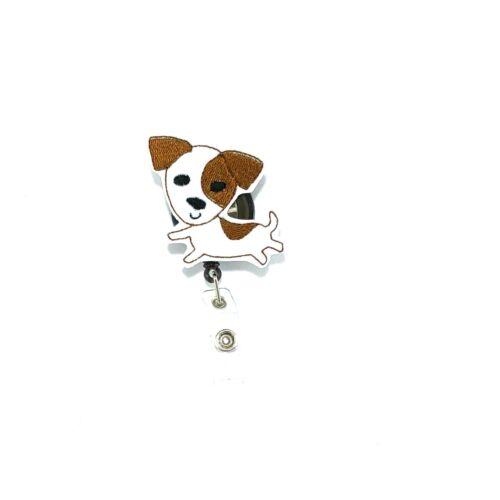 Jack Russell Terrier Badge Reel Holder Clip Cover Dog Animal Vet Tech ID Charm