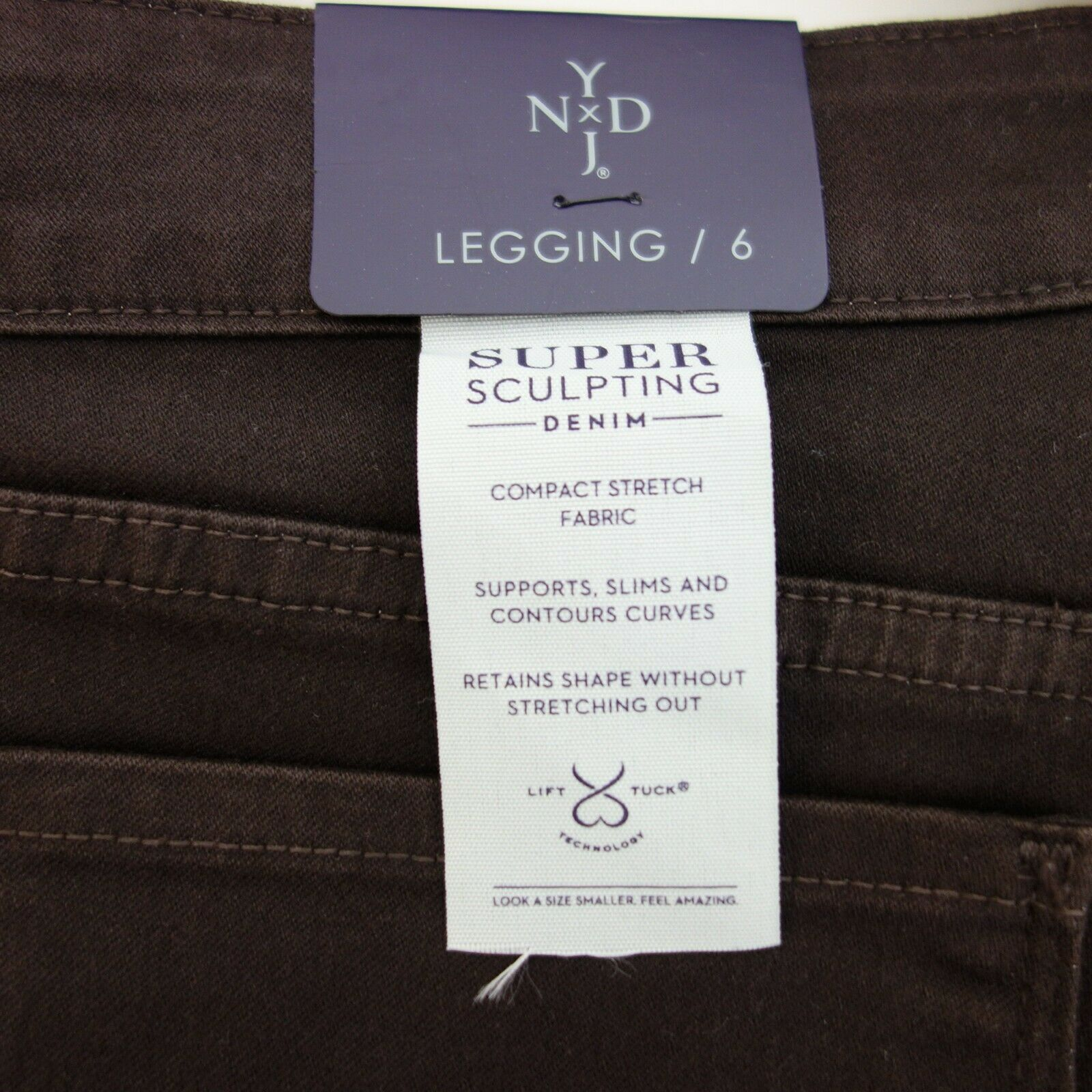 NYDJ Jeans Pantaloni Donna Alina Leggings Leggings Leggings Tg. 6 36 Marronee Super  Modellamento 700219