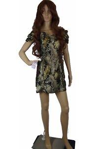 Women-Dress-Off-Shoulder-Gold-Glittered-Shiny-Wet-Look-A-Line-Mini-Small