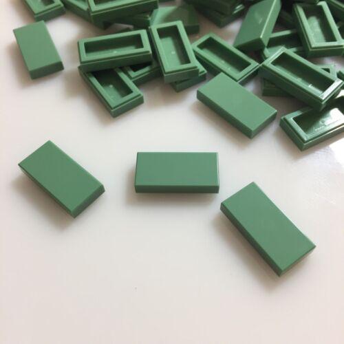 75 NEW LEGO Sand Green 1x2 Flat Tiles (ID 3069/4616578) finishing modular