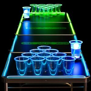 8ft portable ping beer glow pong table classic club bar for Food bar drinking game