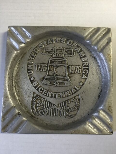 Vtg Square United States America Bicentennial Cigarette Ashtray Pewter Armetale
