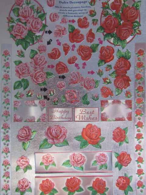 3D Die Cut Sheet Dufex Decoupage Red and Pink Roses NEW