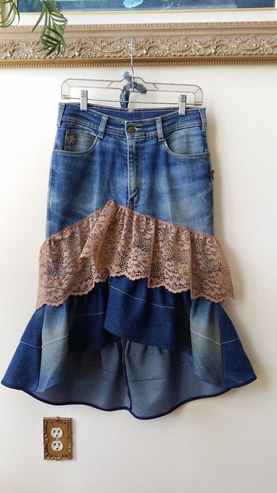 WOMEN'S RECONSTRUCTED ASYMMETRICAL DENIM RUFFLE SKIRT, Size 30  waist