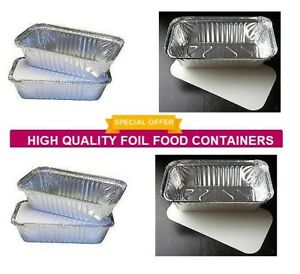 100 X No 6a Catering Aluminium Foil Food Container Take Away Box + Lids 5695330549821