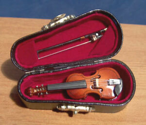 Miniature-Violin-amp-Bow-Musical-Instrument-Ornament-Musical-Boxed-dolls-house-LGW