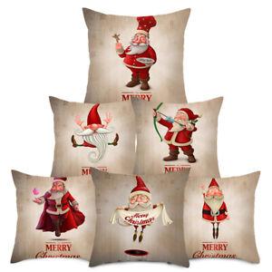Christmas-Funny-Santa-Claus-Pillow-Case-Xmas-Sofa-Car-Cushion-Cover-Home-Decor-W