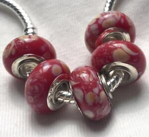 5PCS-silver-hallmarked-Single-Core-Murano-Glass-Beads-fit-Charms-Bracelet-AOC106