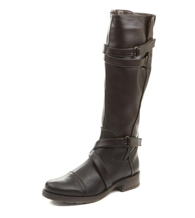 LADIES YVES FAUX LEATHER KNEE HIGH FUR LINED BOOTS - UK SIZE 6 - BROWN.