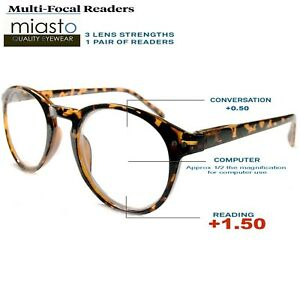 9cf1142a34 MIASTO MULTI-FOCAL (NO LINE BIFOCAL) COMPUTER READER READING GLASSES ...