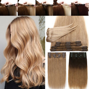 Brazilian-Double-Weft-Clip-In-Remy-Human-Hair-Extensions-Full-Head-Thick-Brown-Q