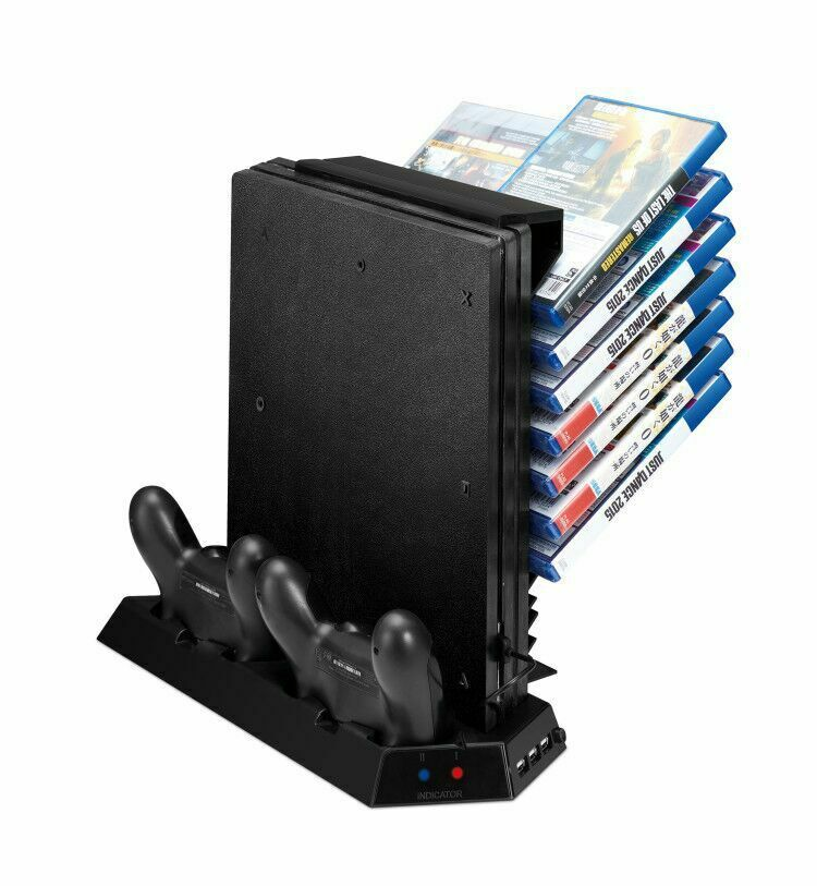 Game Storage and Cooling Fan/Dual Controller Charger PS4 Pro Playstation 4 Pro