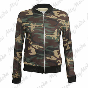 6b11af5034998 Details about Ladies Women's Camouflage Army Military Print Zip Up Jacket  Sweatshirt Top SM ML