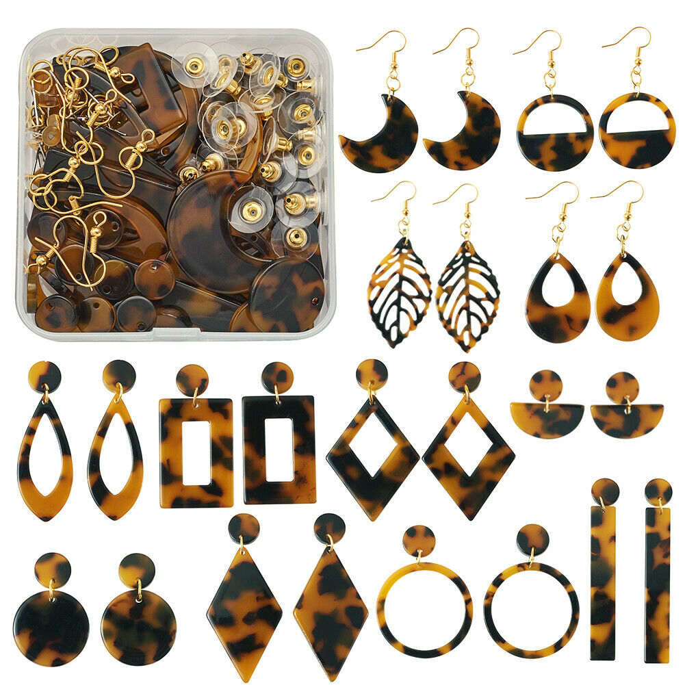 112pcs//Set DIY Cellulose Acetate Resin Charm Earring Making Kit w// Hooks Earnut