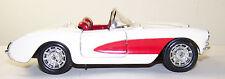 White 1957 Corvette Convertible Die Cast Model Car Door Hood Opens
