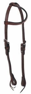 WESTERN-SADDLE-HORSE-LEATHER-ONE-EAR-HEADSTALL-BRIDLE-DARK-OIL-BROWN