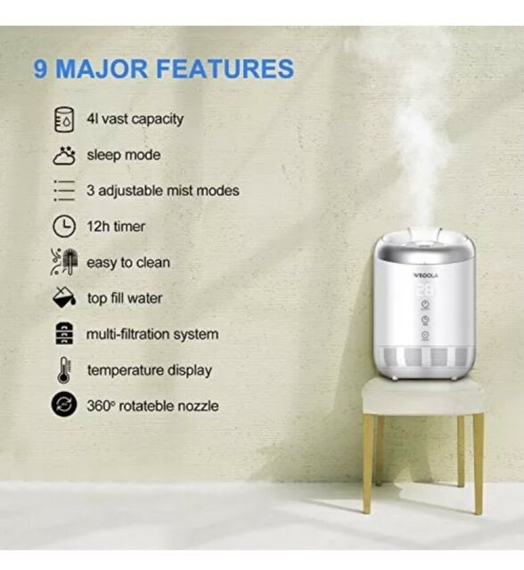 ONTEL BREATHE EASY Miracle Mist Humidifier Top Fill Tank 7