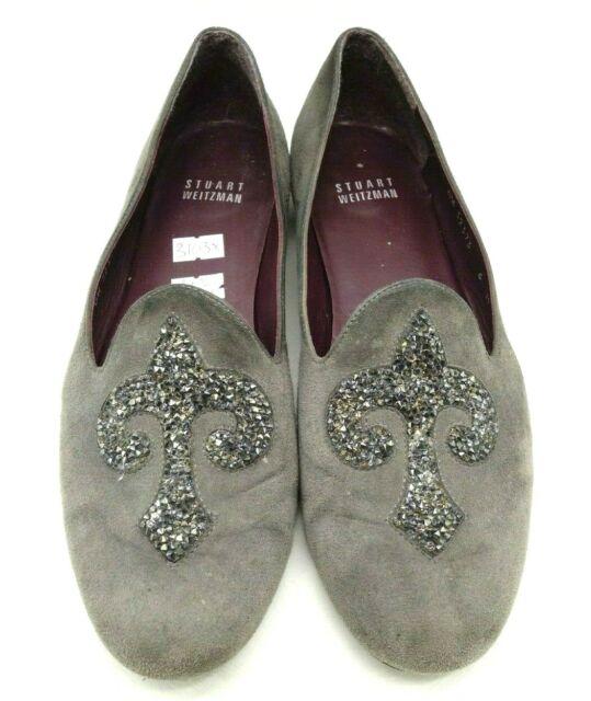 Stuart Weitzman Gray Suede Embellished Toe Fashion Flats Shoes Women's 6 M