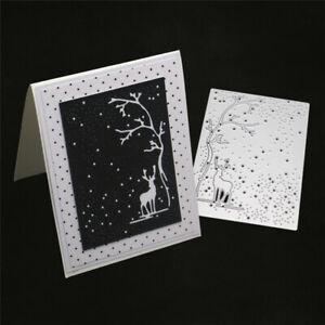 Stanzschablone-Elch-Baum-Schnee-Weihnachten-Hochzeit-Geburtstag-Album-Karte-DIY