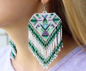 Image Is Loading Native American Beaded Earrings Indian