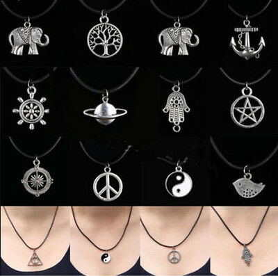 Leather Cord Silver Boho vintage Tibetan Black Choker Charm Necklace Pendant ue7