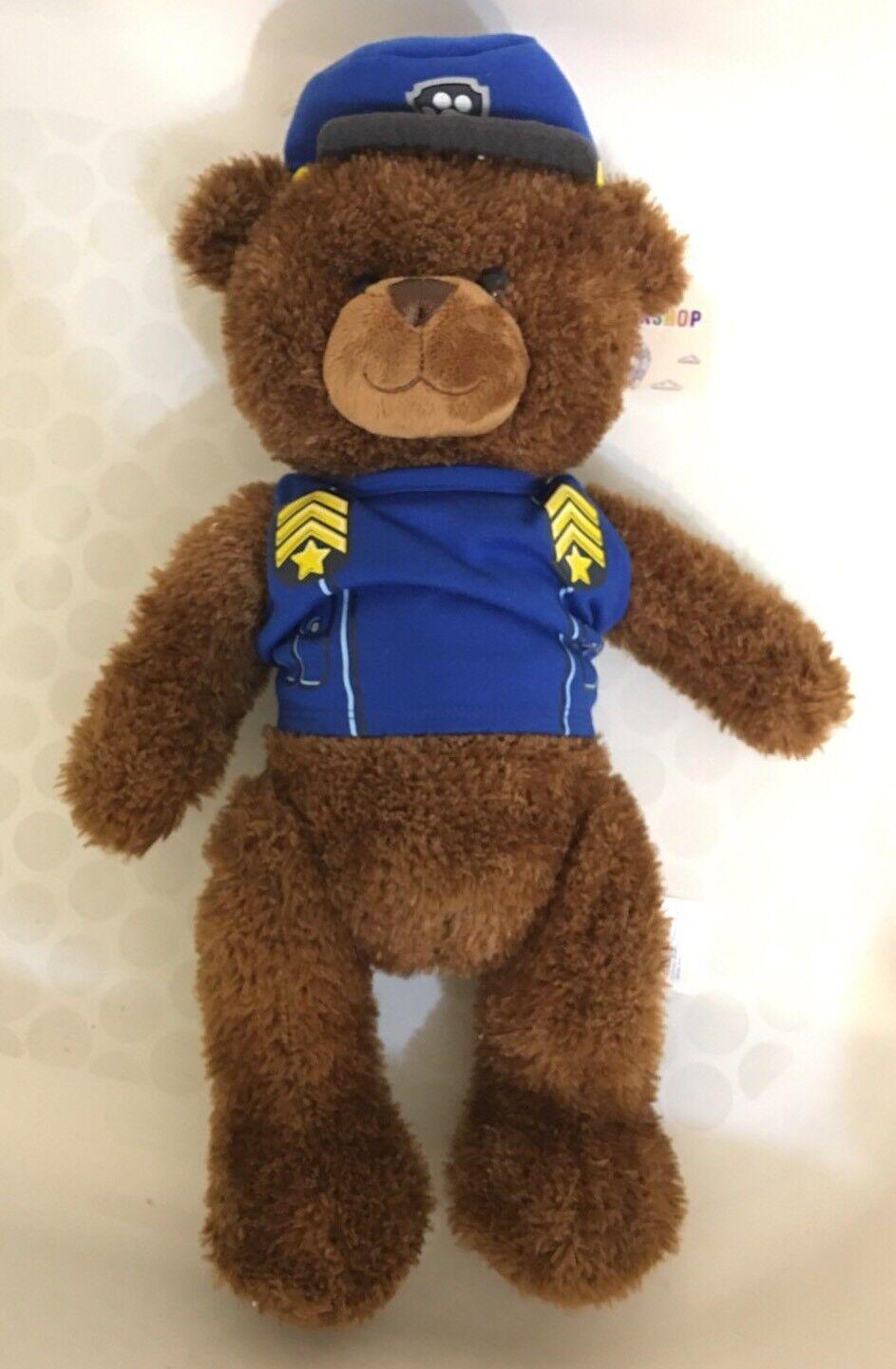 Build A Bear Workshop Traditional Teddy Bear Cocoa marrone Police Uniform, Hat 18