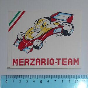 ADESIVO-STICKER-VINTAGE-AUTOCOLLANT-TEAM-MERZARIO-ANNI-039-80-10x8-cm-RARO