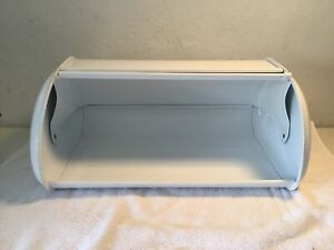 VINTAGE-WHITE-METAL-BREAD-BOX-w-ROLL-TOP-BACK-VENTS-PREOWNED