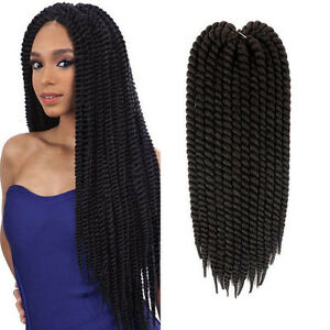 Details about 22\u0027\u0027 120g Black Havana Mambo Twist Crochet Braids Hair  Synthetic Braid Extension
