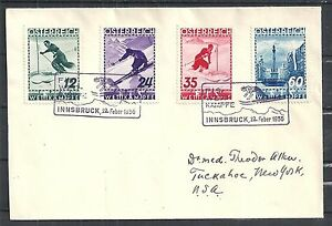 Austria covers 1936 YV 477-480 cover FIS special cancels to USA
