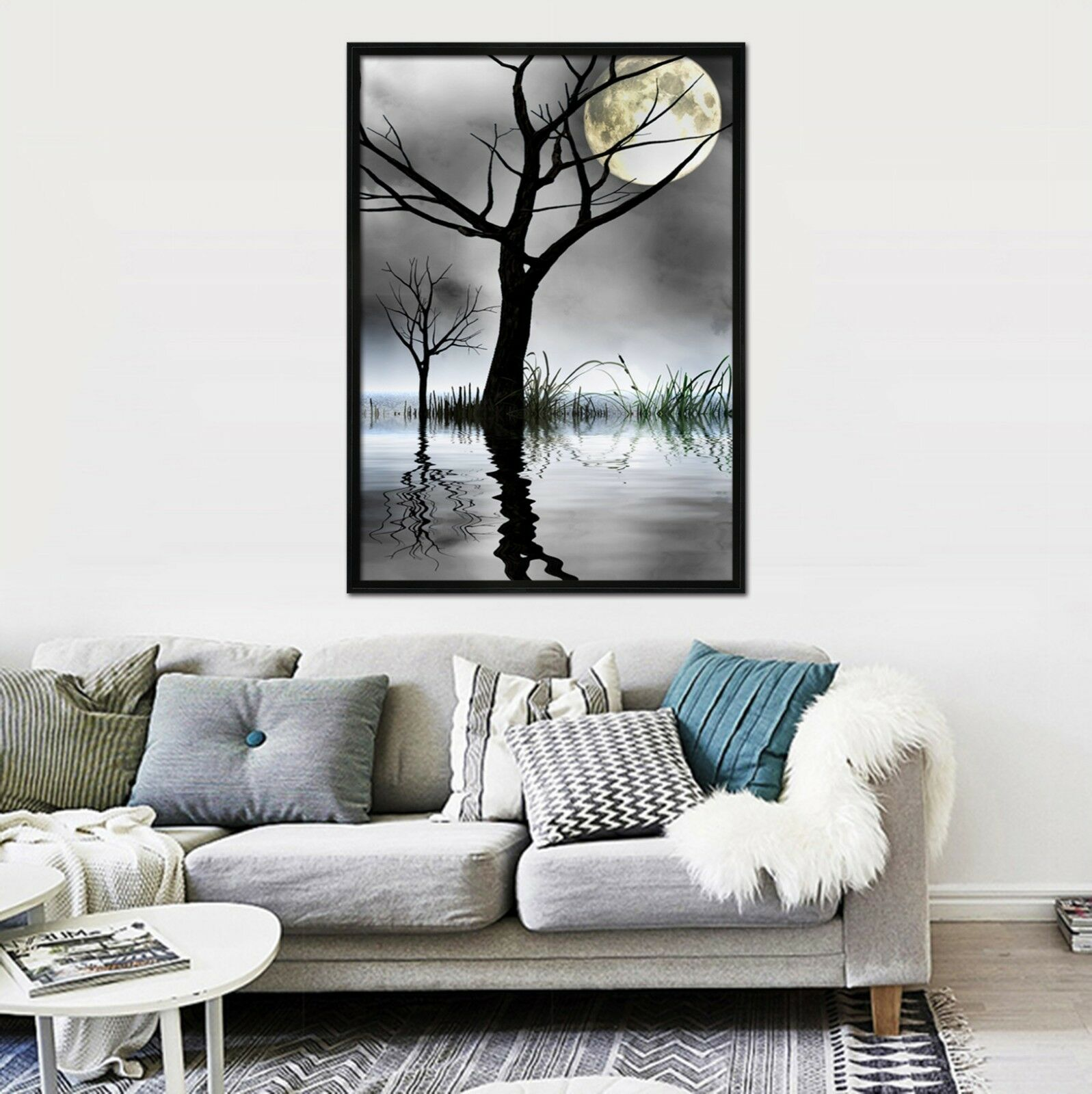 3D Moonlight Tree 675 Fake Framed Poster Home Decor Print Painting Unique Art