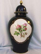 Prachtvolle große Deckel Vase,Moosrose,echt Cobalt Lindner Küps Porzellan,NeuTop