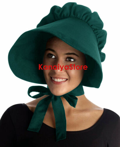 Adult Baby cotton Bonnet Hat Cap Sissy Pioneer Maid Victorian Edwardian Teal