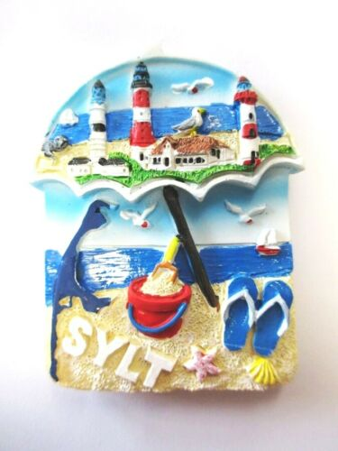 Sylt Magnet Sonnenschirm Umbrella Insel Nordsee Poly Souvenir Germany