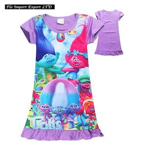 Trolls-Poppy-Vestito-Estate-Bambina-Casual-Summer-Poppy-Girl-Dress-TRDRES03