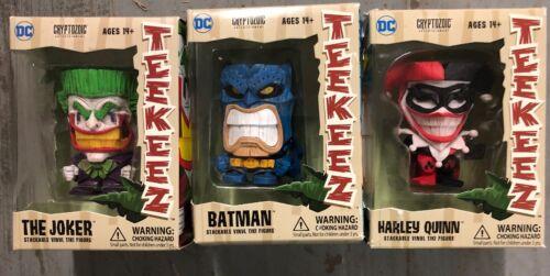 DC Teekeez Tiki Vinyl Figures, Set Of 3, Batman, Harley, Joker.  Amazing Fun!